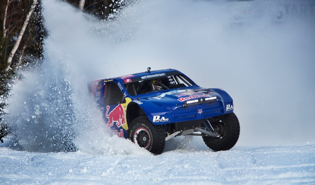 Redbull trophy truck in the snow